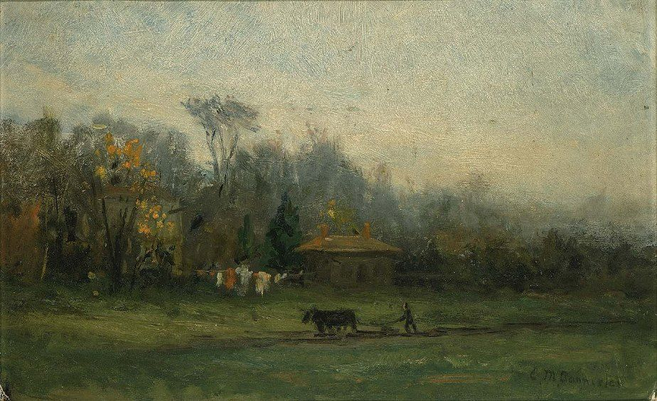 Edward Mitchell Bannister landscape with man plowing fields
