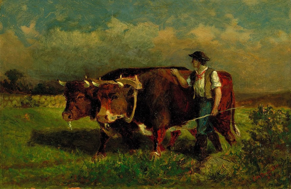 Edward Mitchell Bannister man with two oxen