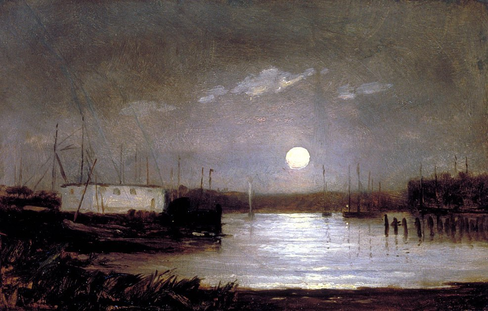 Edward Mitchell Bannister moon over a harbor, wharf scene with full moon and masts of boats