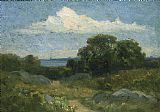Edward Mitchell Bannister Landscape (trees and rocks by lake) painting