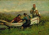 Edward Mitchell Bannister People Near Boat painting