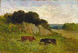 Edward Mitchell Bannister landscape with two cows painting