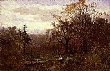 Edward Mitchell Bannister landscape, woman carrying wood painting