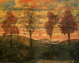 pear tree Paintings - Four Trees