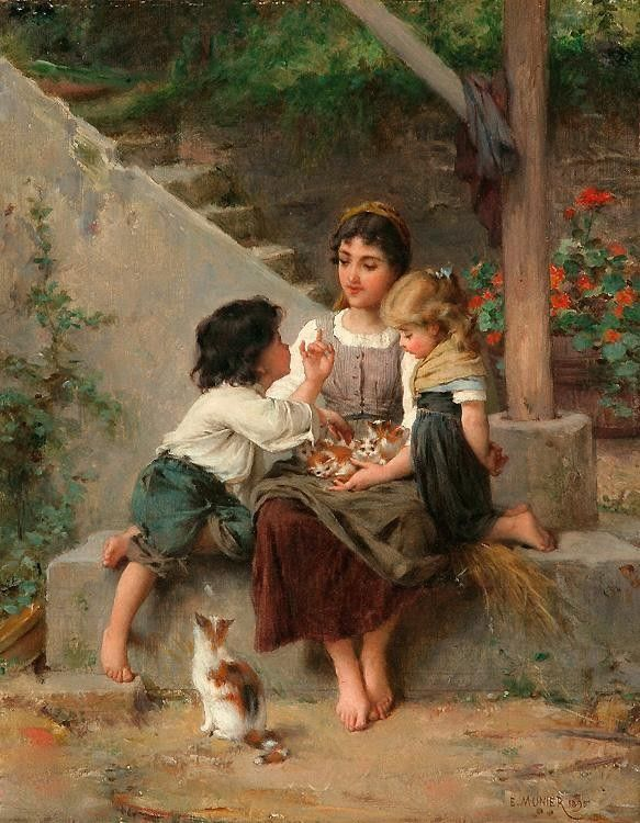 Emile Munier Playing with the Kittens