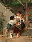 Emile Munier Playing with the Kittens painting