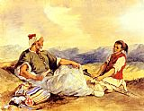Eugene Delacroix Two Moroccans Seated In The Countryside painting