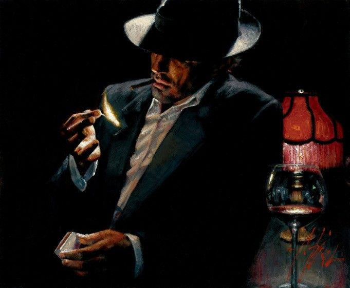 Fabian Perez Man lighting Cigarette II