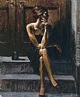 Fabian Perez BLACK PURSE painting