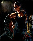 Dancer paintings - Celina con Abanico II by Fabian Perez