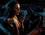 Fabian Perez Darya In Car With Lipstick painting