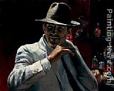 Fabian Perez Man at the Red Bar painting