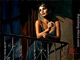 Fabian Perez Saba on the Balcony VII painting