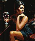 Fabian Perez Saba with a glass of red wine painting