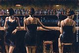 Fabian Perez Study For 3 Girls in Bar painting