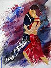Tango paintings - Dancing Tango by Flamenco Dancer