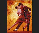 Flamenco Dancer Terence Gilbert Golden Tango painting