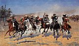 Horse Racing paintings - A Dash for the Timber by Frederic Remington
