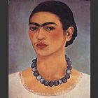 Frida Kahlo Self Portrait with Necklace painting