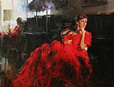 Piano paintings - WOMAN IN RED by Garmash
