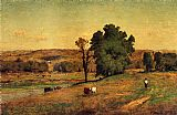 George Inness Landscape with Figure painting