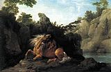 George Stubbs Lion Devouring a Horse painting