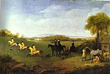 Horse Racing paintings - Racehorses Belonging to the Duke of Richmond Exercising at Goodwood by George Stubbs