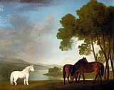 George Stubbs Two Bay Mares And A Grey Pony In A Landscape painting