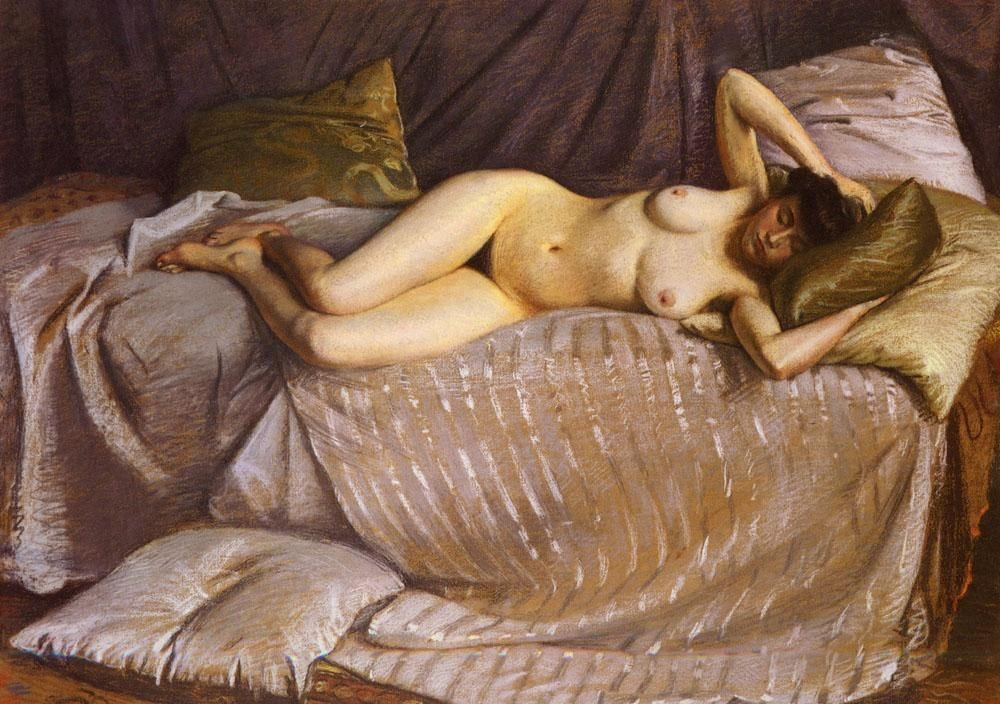 Gustave Caillebotte Naked Woman Lying on a Couch