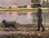 Gustave Caillebotte Richard Gallo and His Dog at Petit Gennevilliers painting