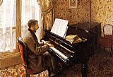 piano night Paintings - Young Man Playing the Piano
