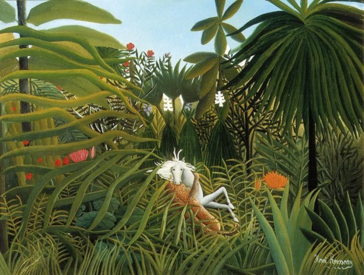 Henri Rousseau Horse Attacked by a Jaguar