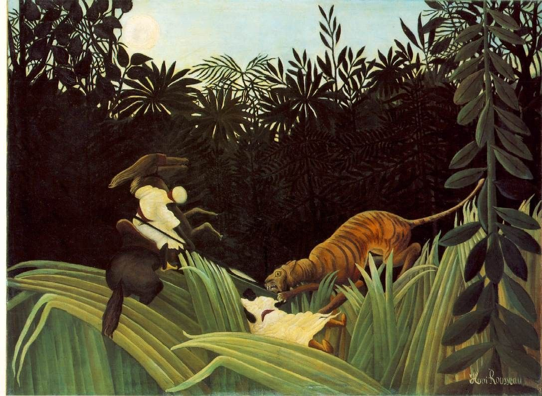 Henri Rousseau Scout Attacked by a Tiger