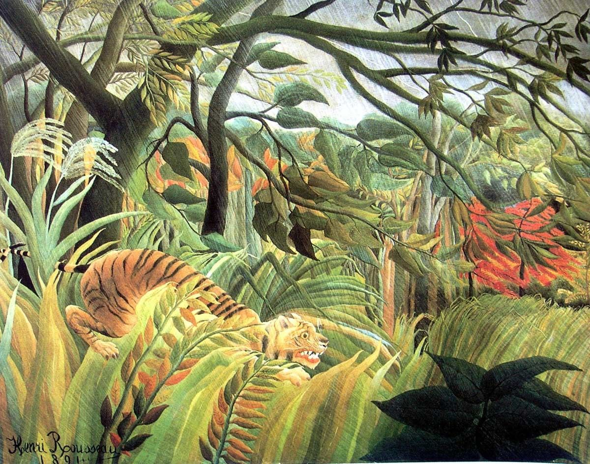 Henri Rousseau tiger in a tropical storm