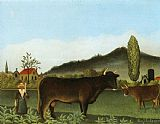 Henri Rousseau Landscape with Cattle painting