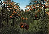 Henri Rousseau Monkeys in the Jungle painting
