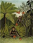 Henri Rousseau Two Monkeys in the Jungle painting