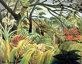 Henri Rousseau tiger in a tropical storm painting