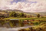 Landscape paintings - The River Mole, Dorking Surrey by Henry H. Parker