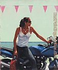Jack Vettriano a Fille a la moto painting