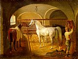 Horse Racing paintings - Stallinneres by Jacques Laurent Agasse