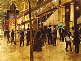Jean Beraud The Theatre des Varietes painting