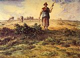 Jean Francois Millet A Shepherdess and her Flock painting