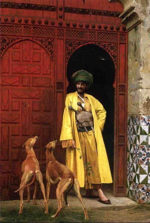 Jean-Leon Gerome An Arab And His Dogs