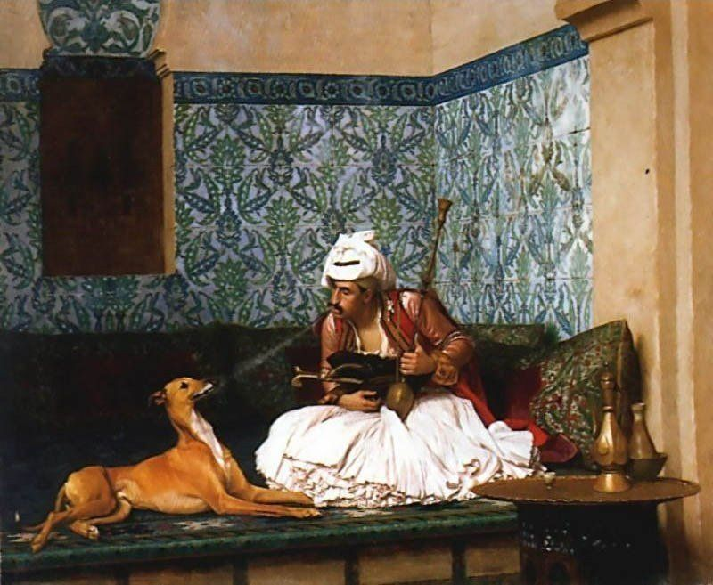Jean-Leon Gerome Arnaut blowing Smoke at the Nose of his Dog
