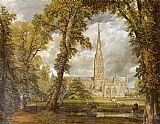 Landscape paintings - Salisbury Cathedral by John Constable