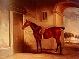 John Ferneley Snr A Saddled Bay Hunter In A Stableyard painting