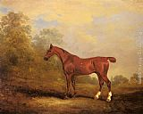 John Ferneley Snr Cecil, a favorite Hunter of the Earl of Jersey in a Landscape painting