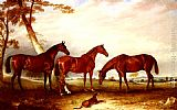 John Ferneley Snr Marvel, KingFisher And The Lad, Three Hunters Belonging To William Angerstein, In A Field With His Dog Spring painting