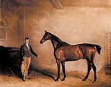 John Ferneley Snr Mr. C. N. Hogg's Claxton and a Groom in a Stable painting